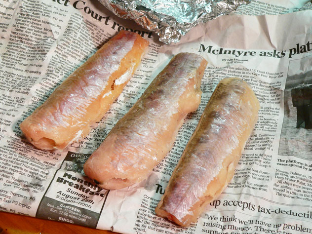 This is what I had when I unwrapped the foil packs.  They had already been cleaned and skinned. I placed them back in the refrigerator for a couple of hours to let them thaw out properly. Most Brook Trout are fairly small but the North Carolina record for the largest one caught was recorded at 7 pounds 7 ounces, and has held since 1980.