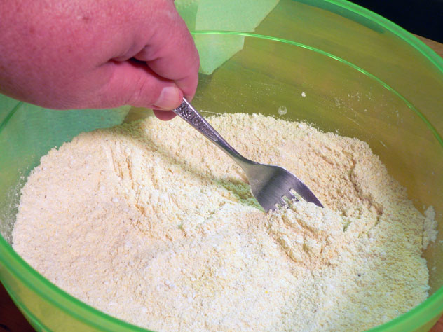 Grab a fork or whisk and mix all the dry ingredients together.