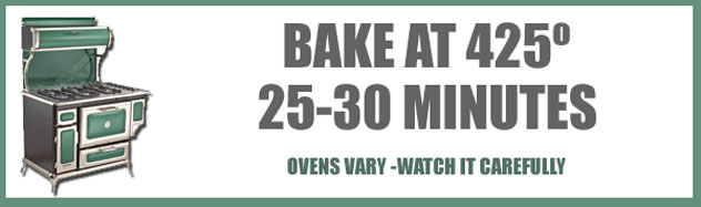 Place the skillet in the oven and bake it at 425º F for about 25-30 minutes, or until done.