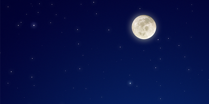 starry sky with full moon
