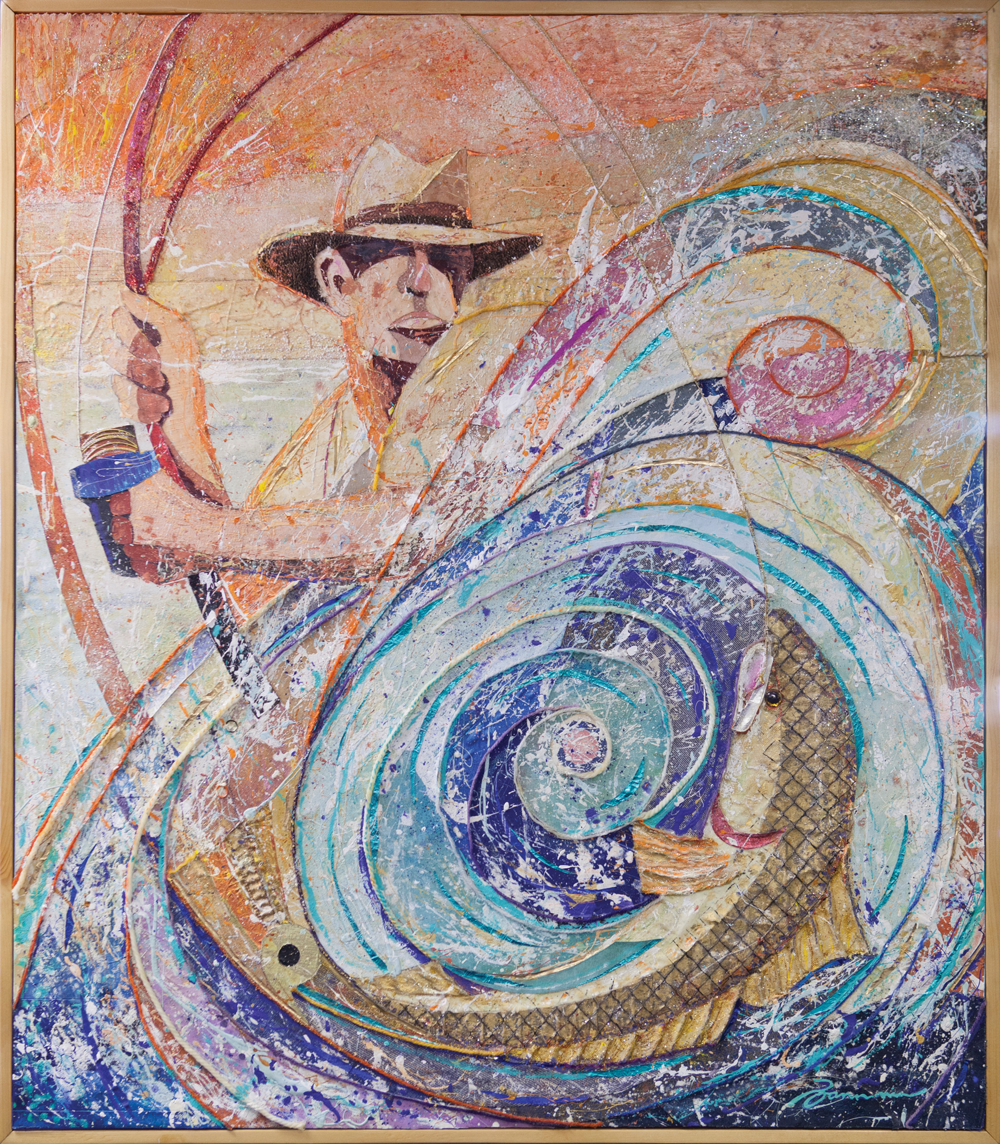 His annual trips to Lea Island, where he fishes for red drum, inspired the piece above.