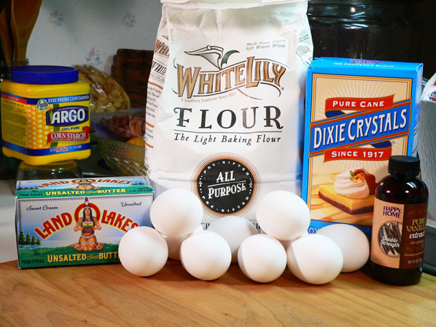 "True Pound Cake: You'll need these ingredients. We're going to use the All-Purpose Flour to make our own ""Cake Flour,"" as called for in many recipes. And, I'm going to take the liberty of adding some Vanilla Extract, as it's considered acceptable to many of the earlier recipes as well."