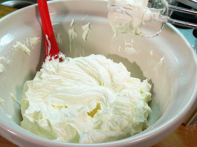 Scrape down the sides again, and cream the butter and sugar together until it's light and fluffy.