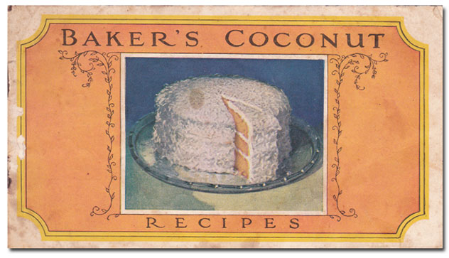 Here's the cover of the little recipe booklet. I picked this up at the weekly auction I attend, just a couple of days after realizing I would be making a Coconut Cake. I bid on a small box of old papers, and was happily surprised when I found this towards the bottom of the box. What are the odds that would happen? I had no idea it was in the box when I bid on it. Cost me $2.00, but I'm a big spender that way.