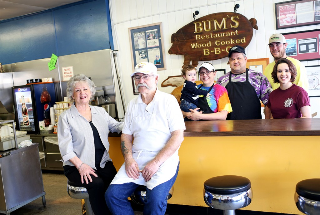 "Bum's Restaurant in Ayden, NC is a family business with several relatives floating in on any given day. A few members of the family, from left, Shirley Dennis, Latham ""Bum"" Dennis, Levi Dunn, Teresa Dennis, Larry Dennis, Tyler Dunn, and Emily Dunn."