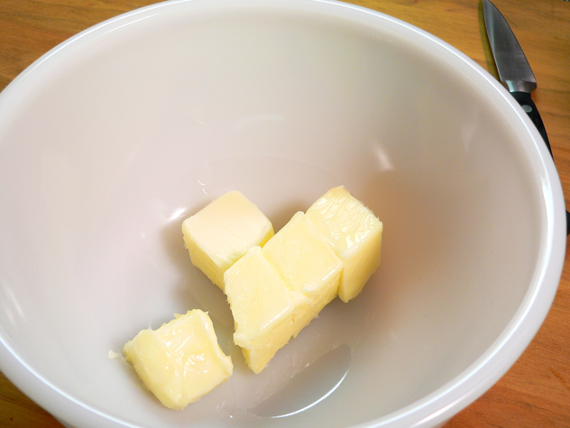 All of your ingredients need to be at room temperature before starting. Begin by placing the softened butter in a medium sized mixing bowl.