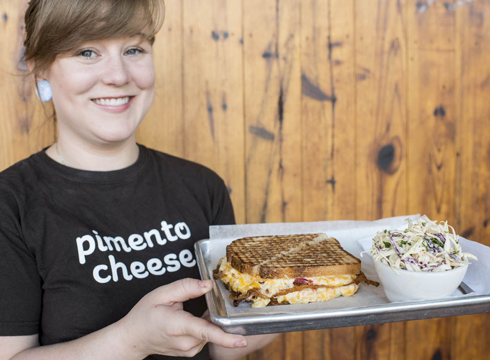 Parker and Otis' manager Erica Murray presents their Sandwich #23: Grilled pimento cheese with bacon.