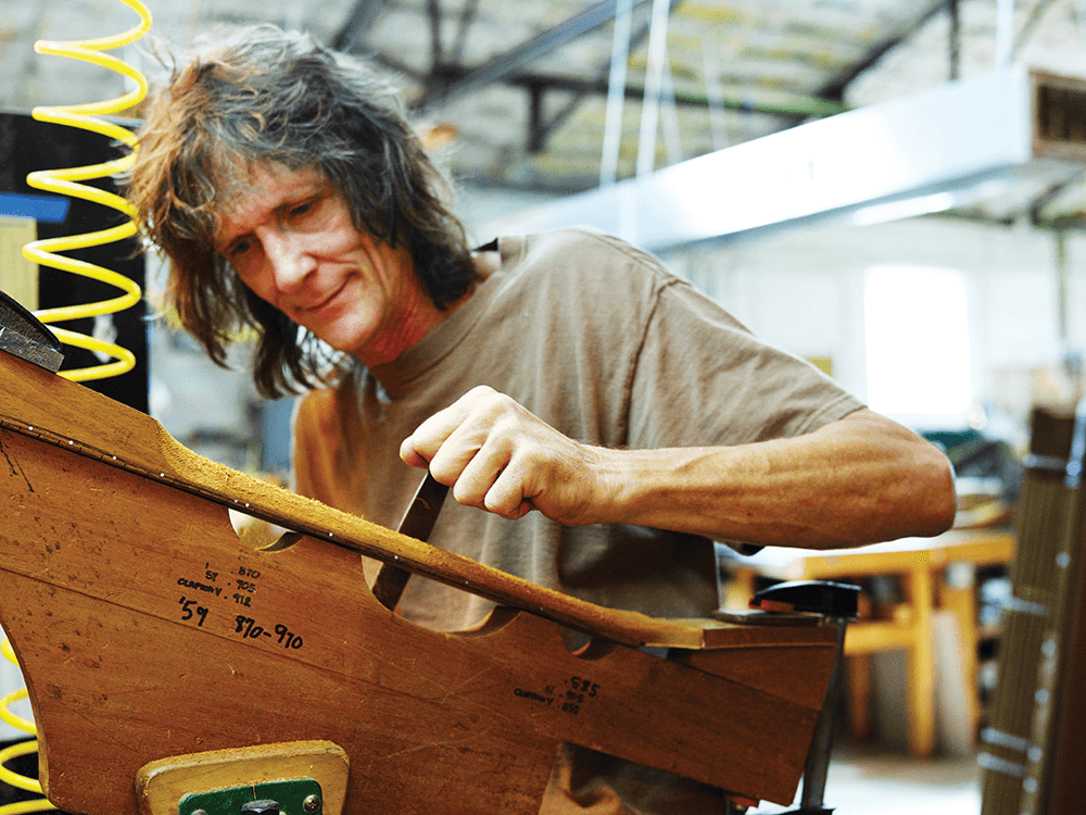 At last count, Terry McInturff has made 3,600 electric guitars. He personally selects a wood, whether Alabama swamp ash or African mahogany, and listens for its individual vibration.