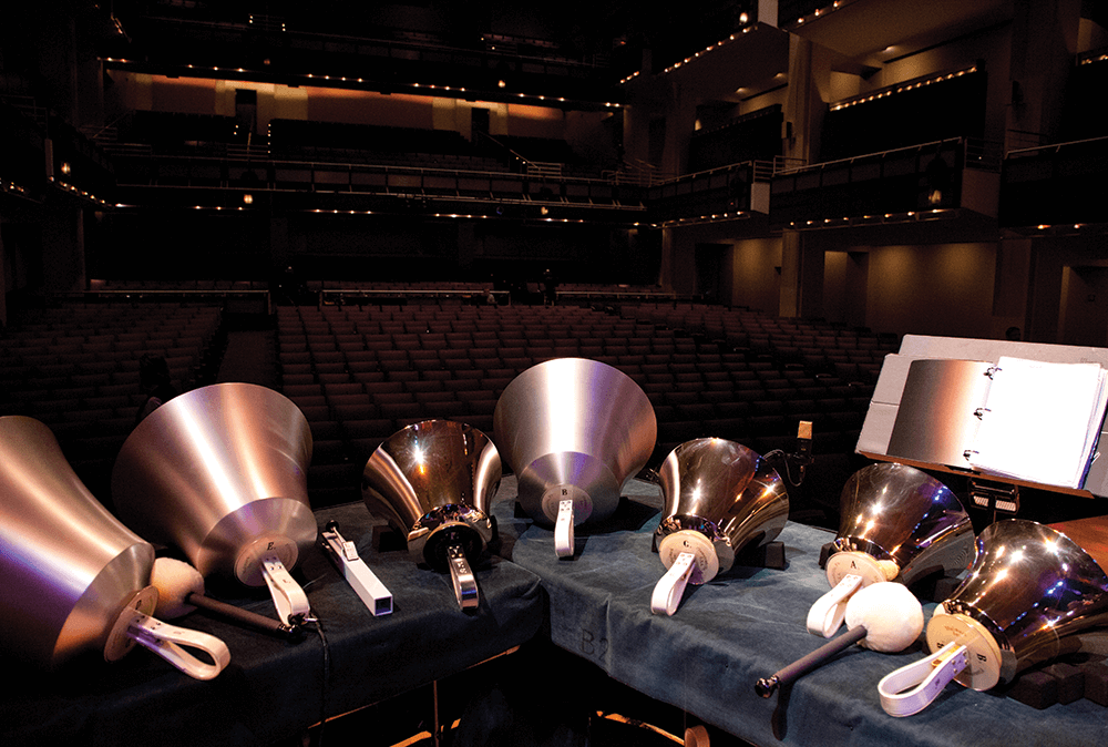 The Raleigh Ringers currently own 361 pieces of handbell equipment, the most owned by any performing ensemble in the world. At concerts, the bells are displayed on stage; afterward, audience members are invited to try them out. Find a list of upcoming performances at rr.org.