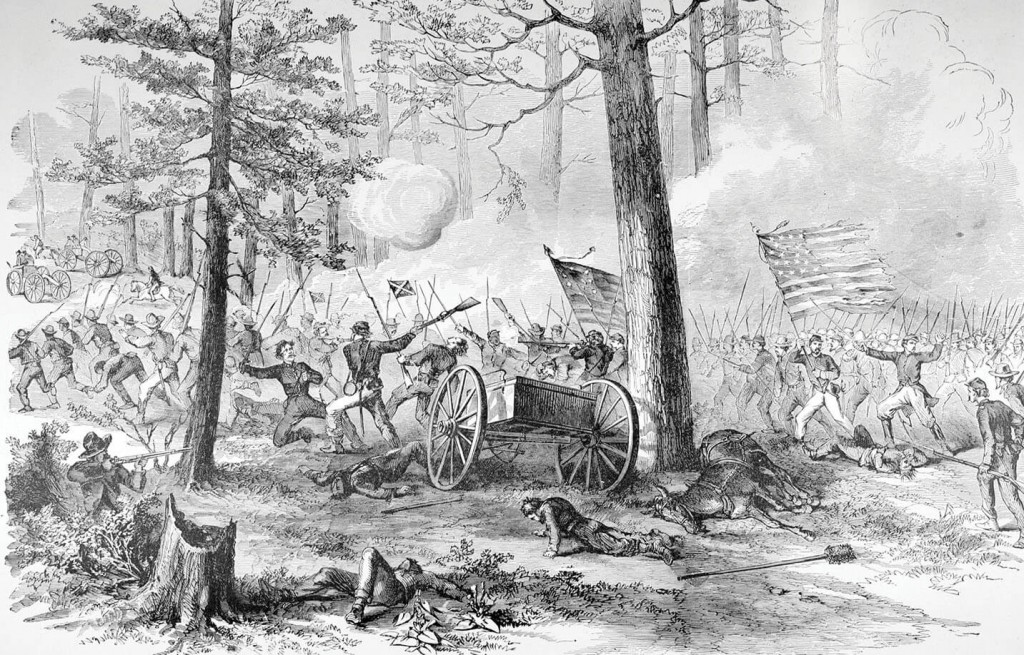 General Sherman charges through Johnston County with his Union army and defeats the Confederate 1st Division, 17th Corps, led by General Mower in the Battle of Bentonville, March 20, 1865. Image courtesy of the State Archives of North Carolina.