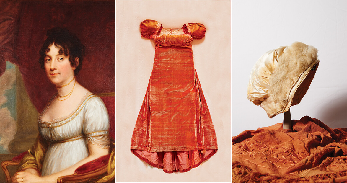 dolley madison red velvet dress