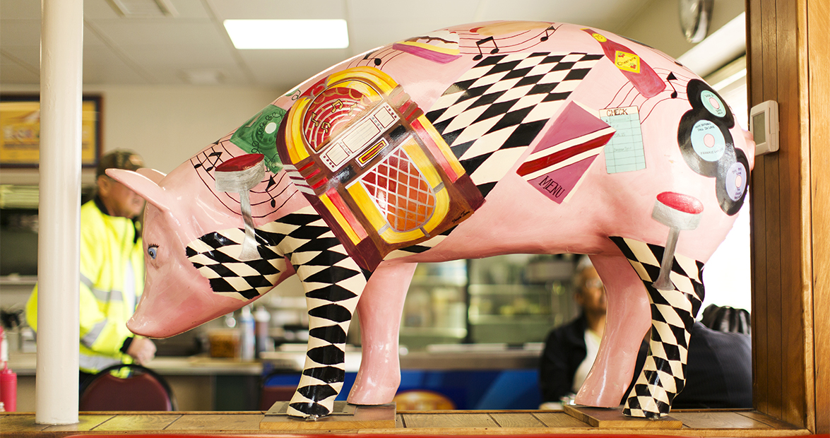 A musical pig at the Bar-B-Q Center.  Lexington has fully embraced its reputation as the capitol of North Carolina's strong barbecue scene.  (Travis Dove for Our State Magazine)