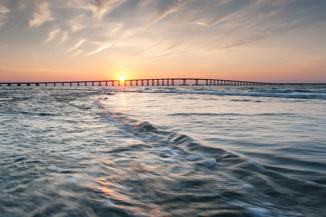 Bonner Bridge Sunset Wave