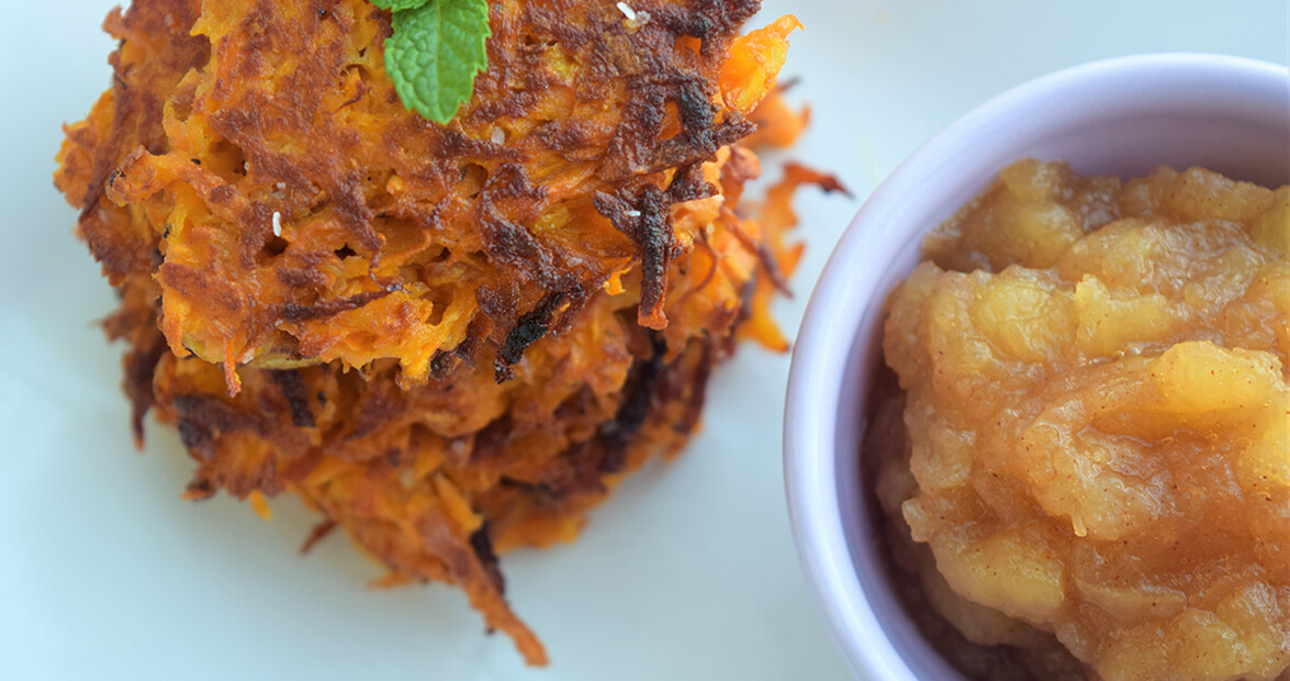 Sweet Potato Latkes with Cinnamon Honeycrisp Applesauce