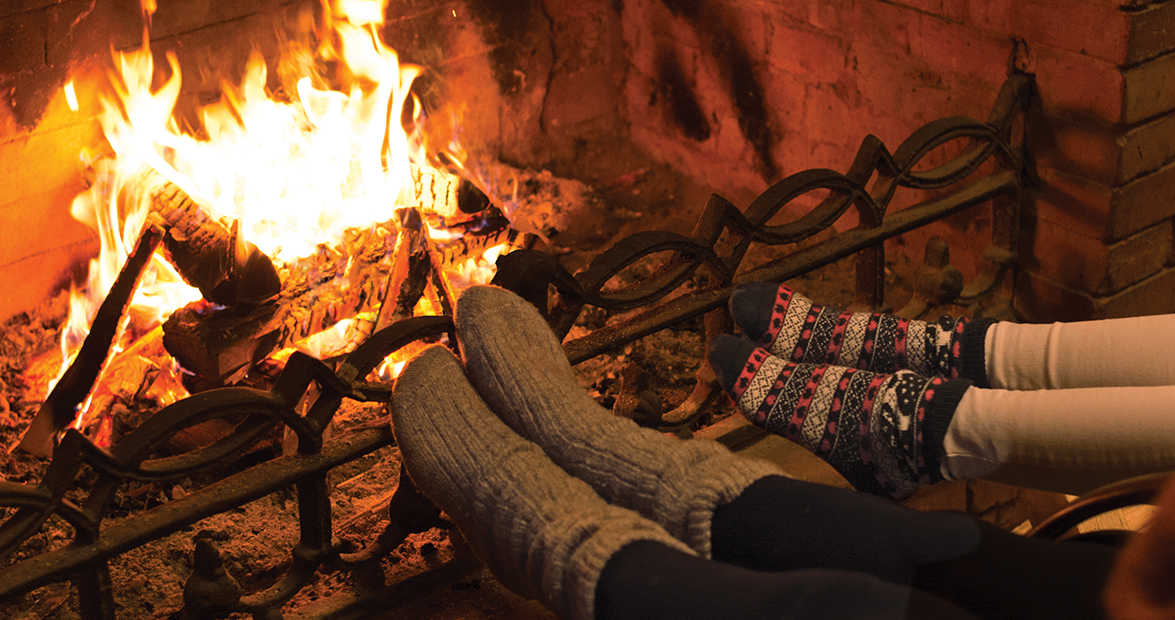 Wood-Burning Fire Provides Winter Warmth