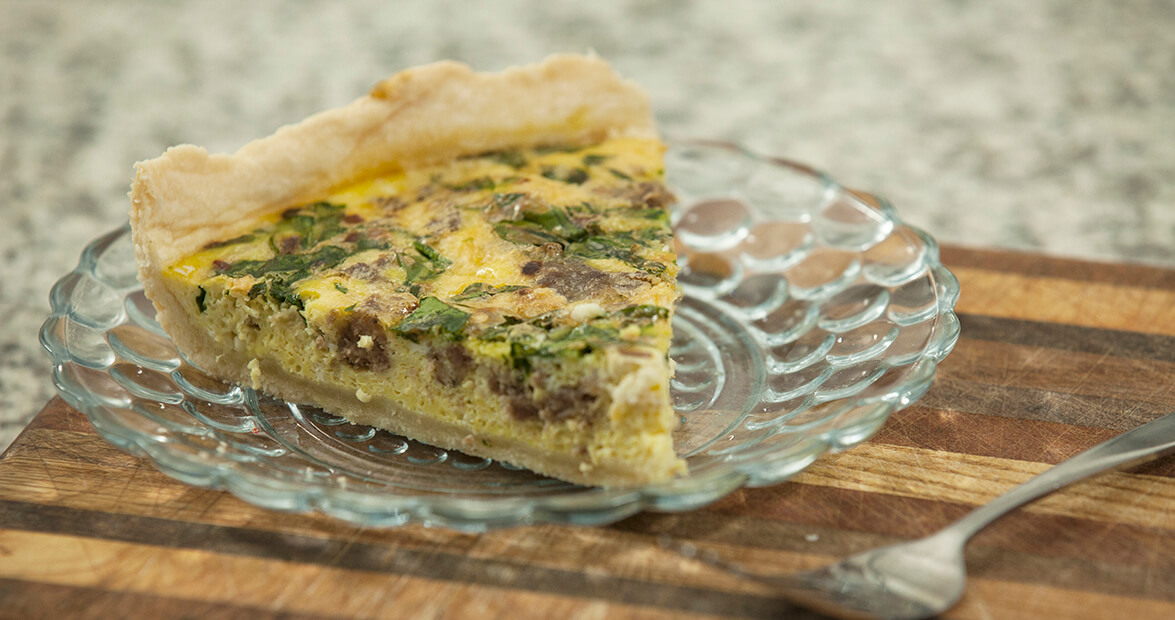 Sausage, Feta, and Spinach Quiche Recipe
