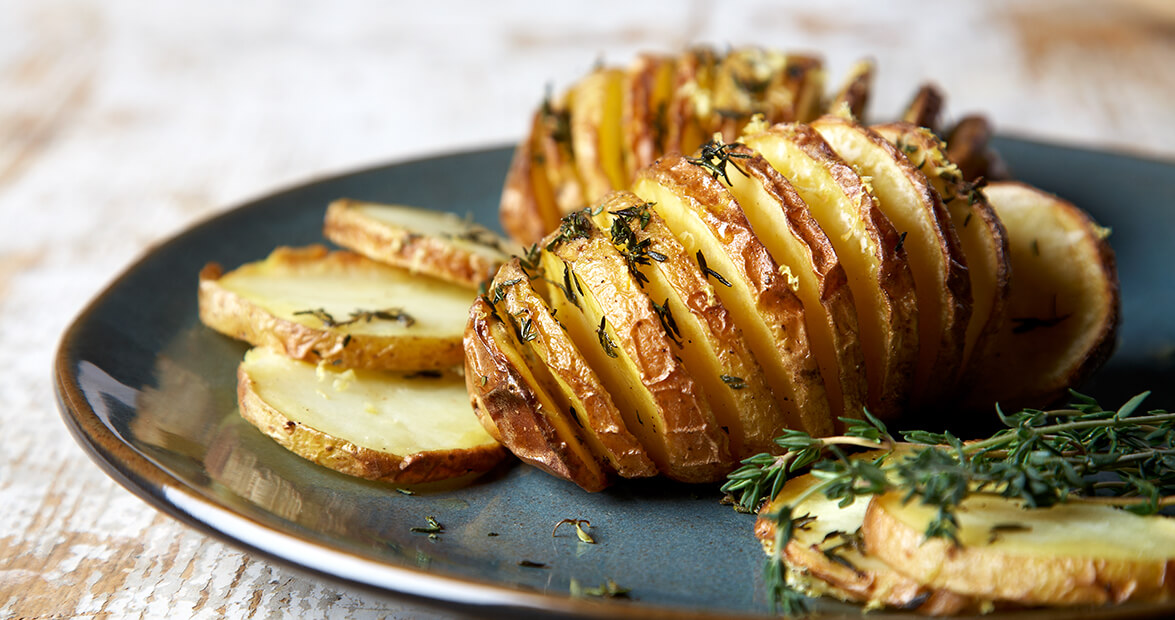 Hasselback Potatoes with Lemon-Thyme Butter Recipe