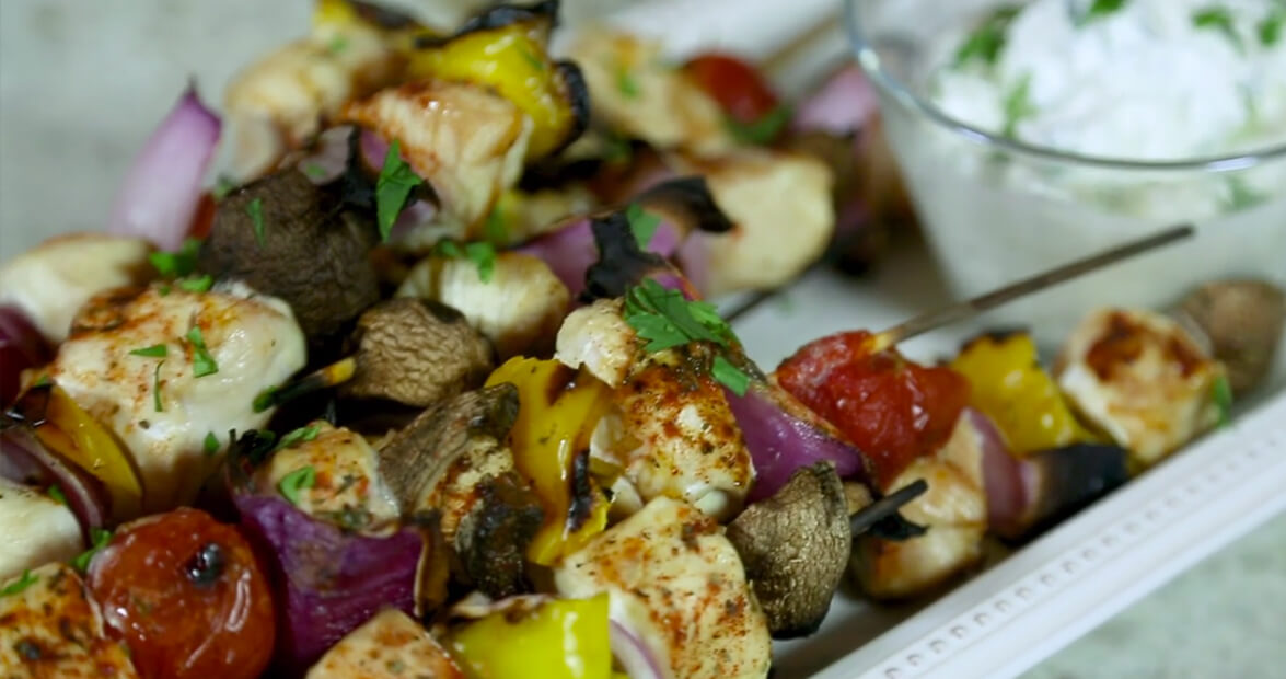 Blackened Chicken Kebobs with Tzatziki Sauce